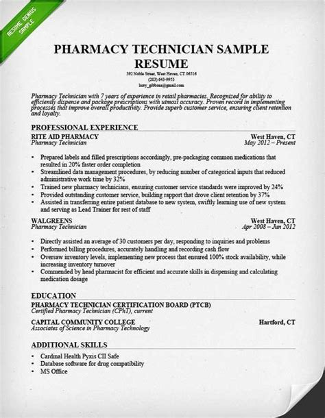 read our pharmacy technician resume sle and learn