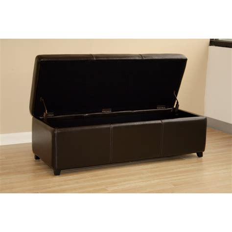 Leather Storage Ottoman Bench Brown Leather Storage Bench Ottoman With Stitching See White
