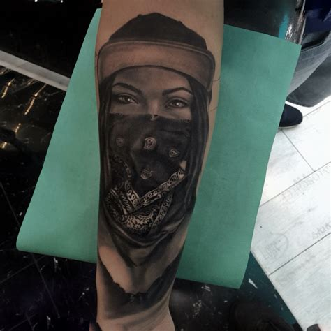 gangster girl tattoo gangster bandana tattoos tattoos by mete tungaz