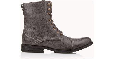 forever 21 distressed faux leather combat boots in brown