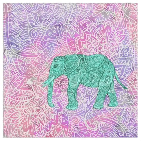 pattern fabric elephant teal tribal paisley elephant purple henna pattern fabric