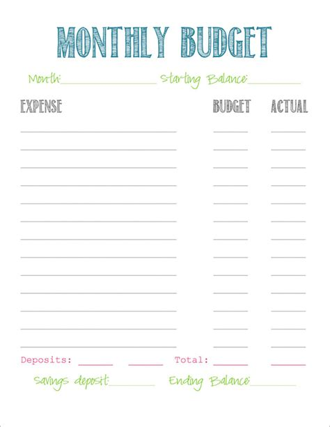 12 Budget Sles Sle Templates Simple Family Budget Template
