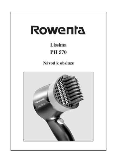 Rowenta Hair Dryer Disassembly rowenta ph 570 lissima hair dryer manual for free