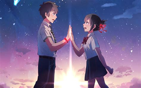 couple wallpaper with name anime your name mitsuha miyamizu taki tachibana kimi no