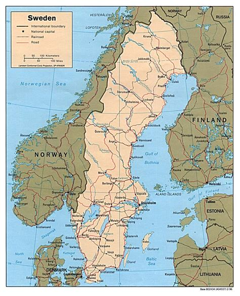 political map of scandinavia detailed political map of sweden 1996 sweden detailed