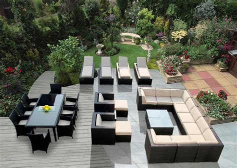 Lawn and garden furniture outdoor wicker sofa furniture with white