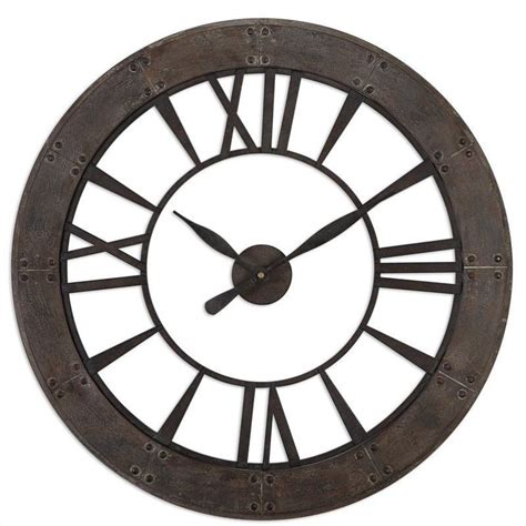 ronan dark rustic bronze large wall clock 06084 uttermost ronan wall clock in dark rustic bronze 06085