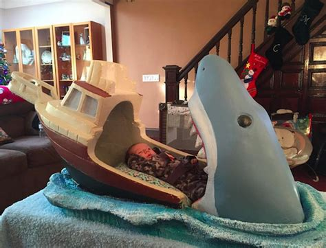 baby bed that connects to parents bed jaws themed baby crib blows bedtime out of the water inhabitots