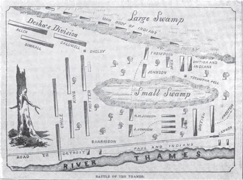 battle of thames river map war of 1812 battle of the thames