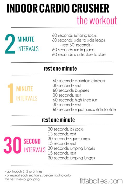 high quality free home workout plans 7 printable cardio