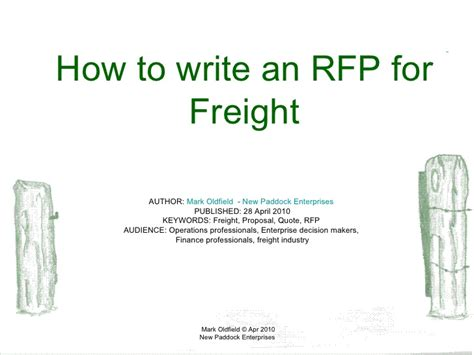 3pl rfp template how to write an rfp for freight