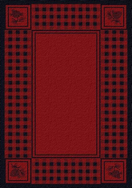 Pinecone Plaid Red Area Rug: Cabin Place