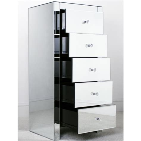 Mirrored Tallboy Chest Of Drawers by Mirrored 5 Drawer Slim Tallboy
