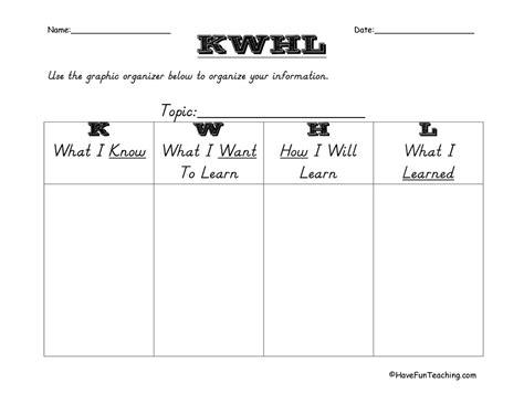 printable organizer charts worksheets kwl worksheet opossumsoft worksheets and