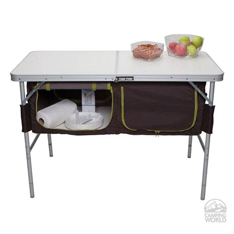 Folding Table With Storage Folding C Table With Storage Bins Westfield Outdoor Inc Ta 519 Picnic Tables Cing
