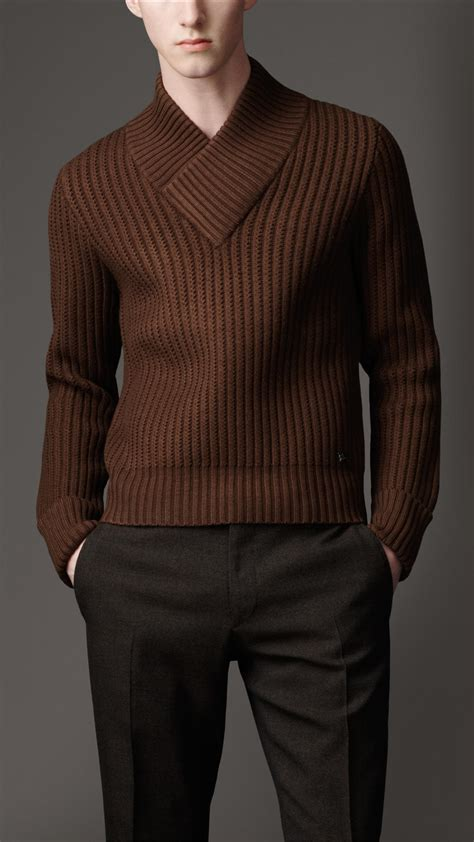 Cdg Thick Knit V Neck Cardigan Gargons 129 lyst burberry shawl collar sweater in brown for
