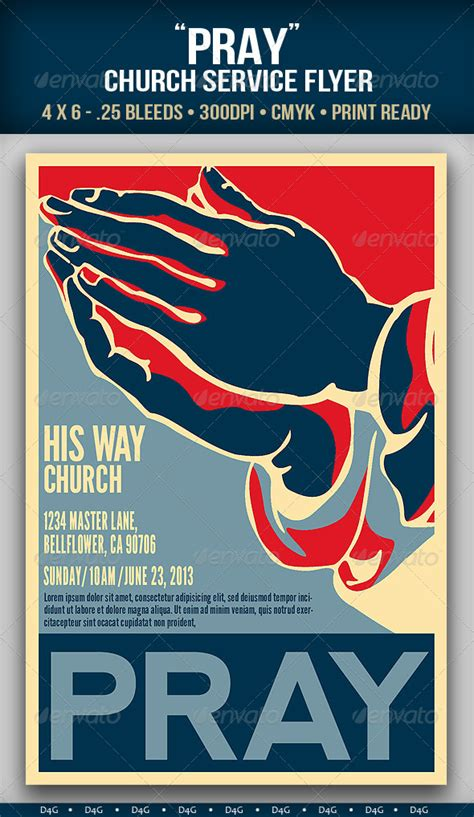 Quot Pray Quot Church Service Flyer By D4g Graphicriver Prayer Flyer Template