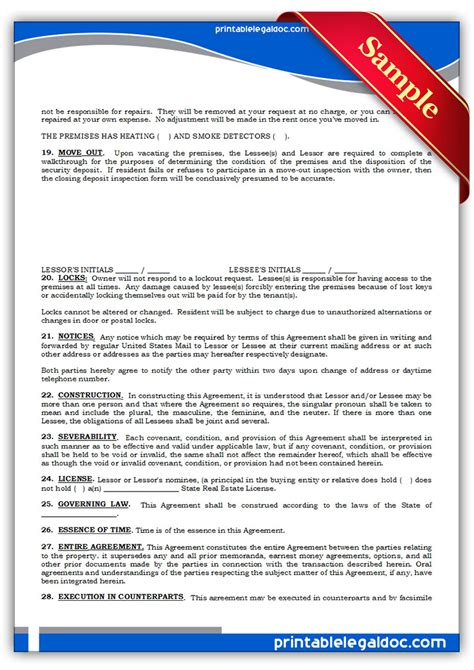 standard lease agreement free printable standard lease agreement form generic