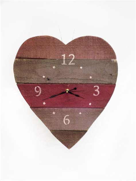 themes heart clock painted wood heart clock decorating ideas shabby chic