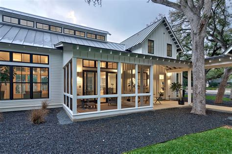 contemporary farmhouse plans modern farmhouse screened in porch with standing seam roof