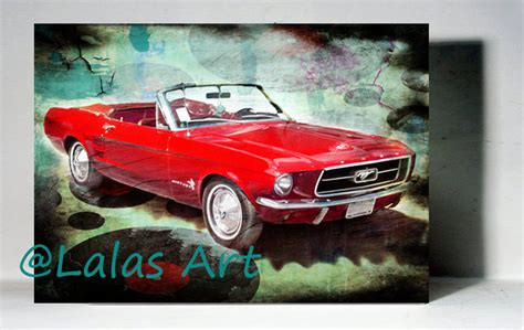 ford mustang home decor vintage retro style art old timer 1967 red ford mustang