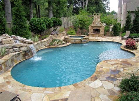 Swimming Pool Backyard Master Pools Guild Residential Pools And Spas Freeform Gallery Minus The Fireplace This