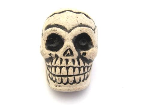 white skull bead ceramic day of the dead bead
