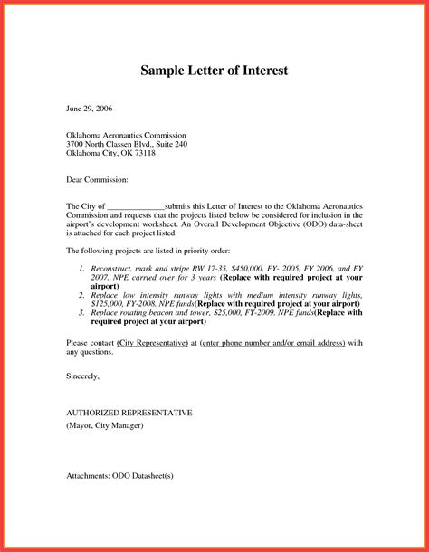 letter of interest template memo exle
