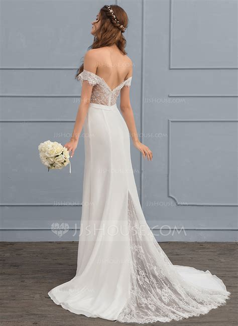 Wedding Dresses The Shoulder by Trumpet Mermaid The Shoulder Court Chiffon Lace