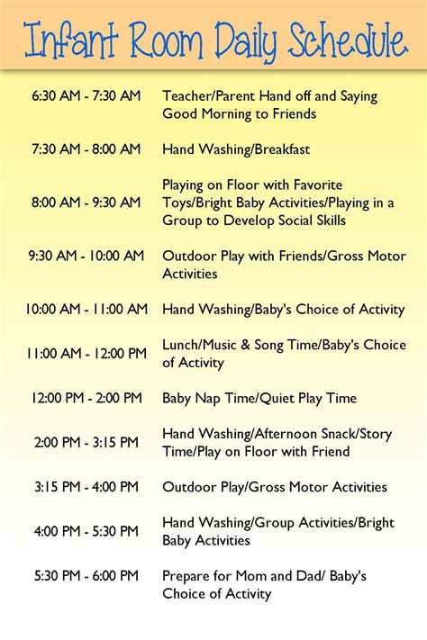 home daycare schedule template infant day care schedule infants infant