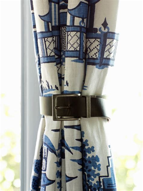 ways to tie curtains how to use leather belts as curtain tiebacks hgtv