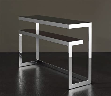 Zinc Modern Metal and Brown Glass Console Table