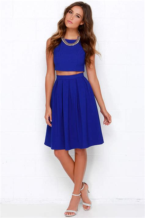 Dress Blus Two Colors Lengan Gelang royal blue two dress pleated dress blue matching