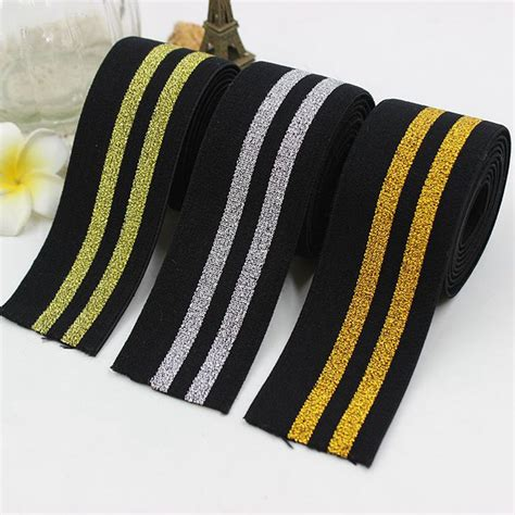 Webbing 3 8cm 3 8 cm wide garment accessories gold silver stripes elastic band flat soft belt tension