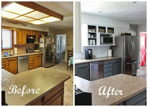 7 Amazing Inside Out Makeovers by Remodelaholic Grey And White Kitchen Makeover