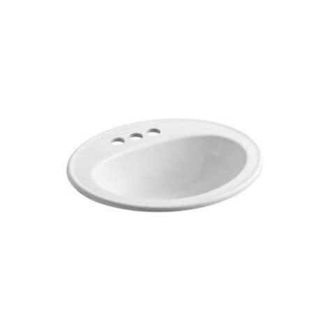 kohler top mount bathroom sinks kohler pennington top mount bathroom sink in white k r2196