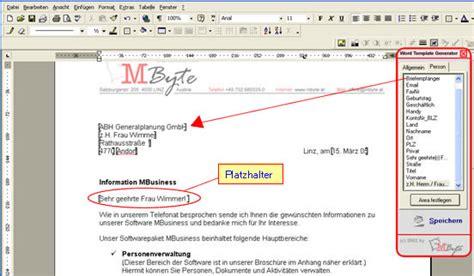 Word Vorlage Platzhalter Tutorials Mbusiness Gt Vorlagen Erstellen Gt Wtg Word Template Generator