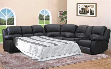leather sectional with recliner and sleeper homeofficedecoration leather sleeper sectional sofa bed
