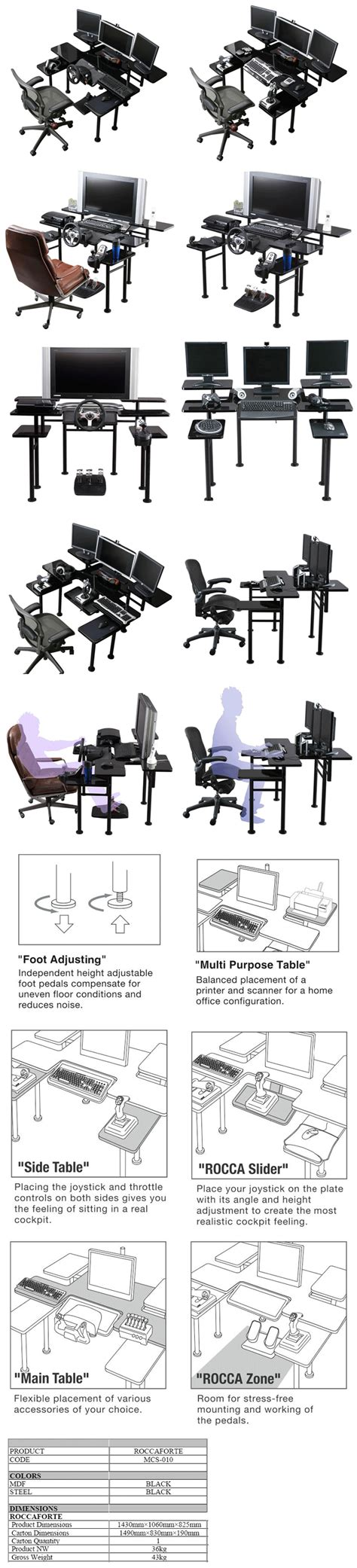 Roccaforte The Ultimate Gaming Desk Ride Beyond Your Roccaforte Ultimate Gaming Desk