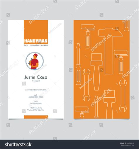 handyman services business card template handyman business sign business card template stock vector