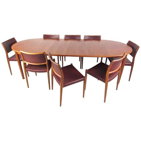 mid century modern danish teak dining set  model   moller dining chair  sale  stdibs