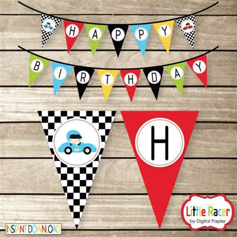 printable cars birthday banner diy race car themed printable birthday banner instant