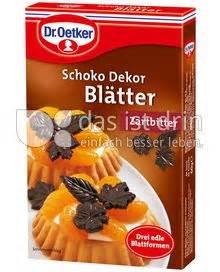 dr oetker dekor dr oetker schoko dekor bl 228 tter zartbitter 587 0 kalorien