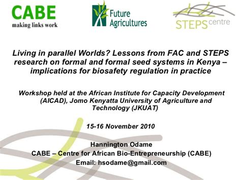 Formal And Informal Credit System Formal And Informal Seed Systems In Kenya Implications For Biosafet