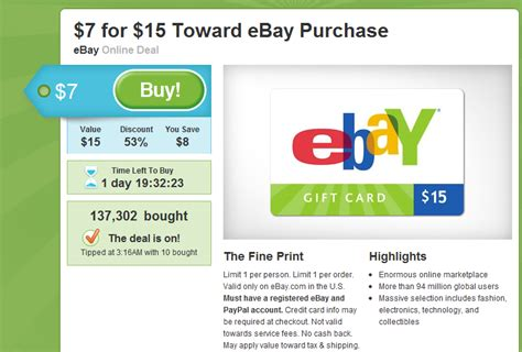 Ebay Online Gift Card - ebay gift card today on groupon penny auction watch 174