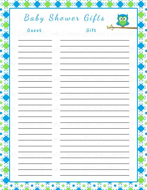 baby shower gift list template baby shower gift list wblqual