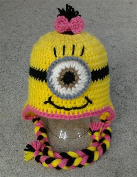 crochet pattern pink minion pink girl minion character hat earflap or beanie child