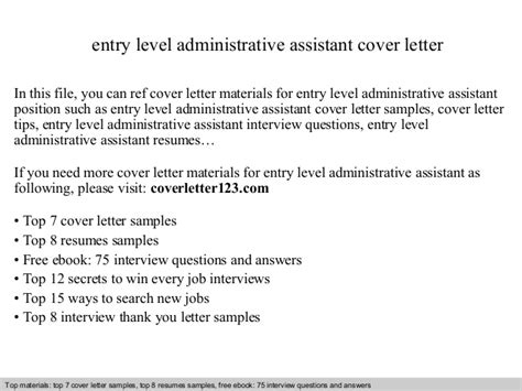 Cover Letter For Beginner Administrative Assistant Entry Level Administrative Assistant Cover Letter
