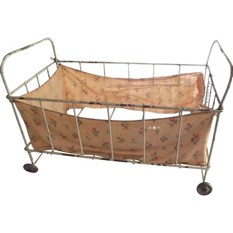 bed on wheels small metal doll bed on wheels chippy paint from fhtv on ruby lane
