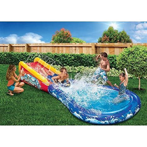 backyard blow up water slides banzai wave crasher surf belly board water slide into pool